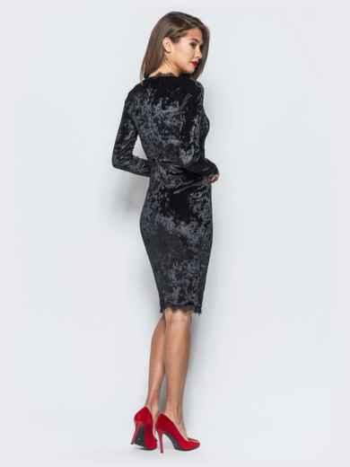 4b1dfa4a5d6 Велюровое платье черного цвета с кружевной отделкой 17865 – купить в ...
