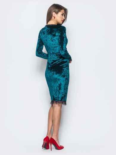 Велюровое платье зелёного цвета с кружевной отделкой - 17864, фото 3 – интернет-магазин Dressa
