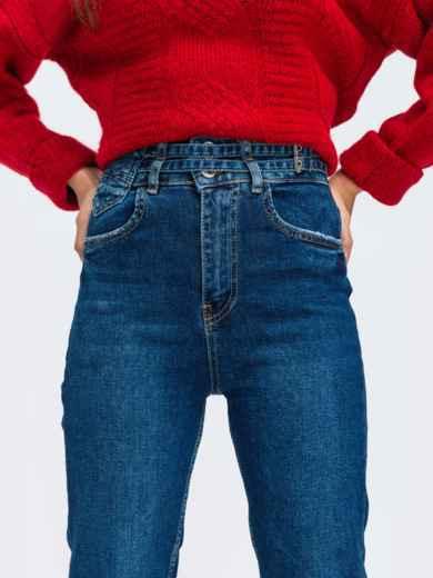 Зауженные джинсы синего цвета с высокой посадкой - 43108, фото 2 – интернет-магазин Dressa