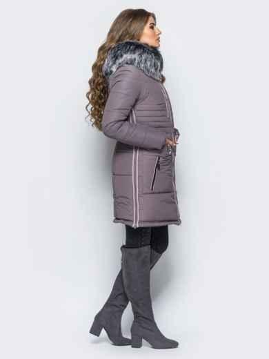 Зимняя куртка с молниями в боковых швах сиреневая - 16713, фото 2 – интернет-магазин Dressa