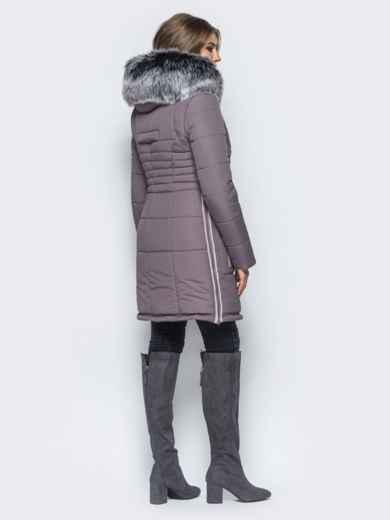Зимняя куртка с молниями в боковых швах сиреневая - 16713, фото 3 – интернет-магазин Dressa