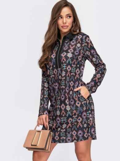 Платье-рубашка с принтом и длинным рукавом графитовое 55520, фото 1