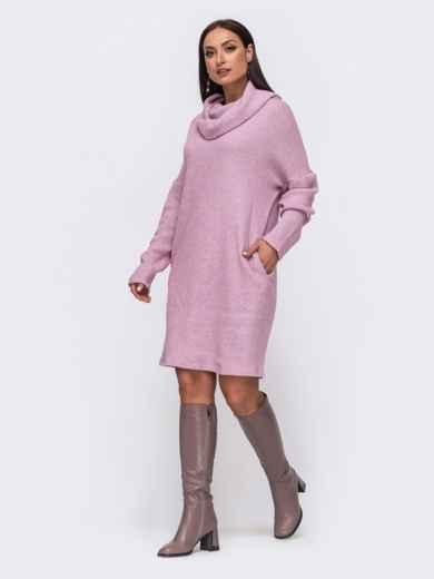 Розовое платье батал свободного кроя с воротником 51334, фото 1