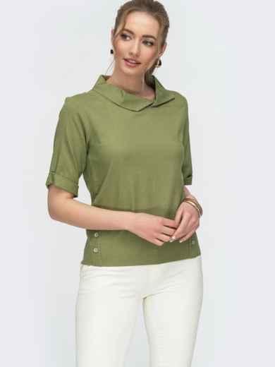 Блузка прямого кроя из льна хаки 46761, фото 1