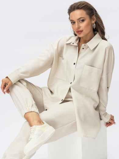 Бежевый костюм со свободной рубашкой и брюками-джоггерами 54339, фото 1