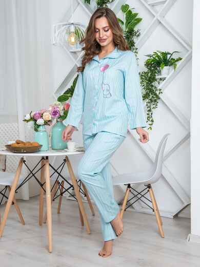 """Брючная пижама с авторским принтом """"слоненок"""" голубая - 20427, фото 1 – интернет-магазин Dressa"""