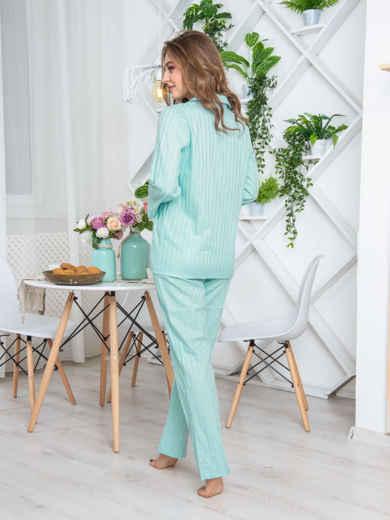 """Брючная пижама с авторским принтом """"слоненок"""" голубая - 20427, фото 2 – интернет-магазин Dressa"""