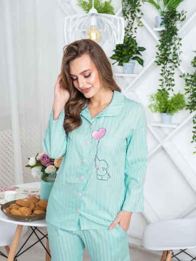 """Брючная пижама с авторским принтом """"слоненок"""" голубая - 20427, фото 3 – интернет-магазин Dressa"""