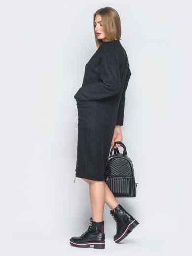 Черное платье из букле с накладными карманами - 19083, фото 2 – интернет-магазин Dressa