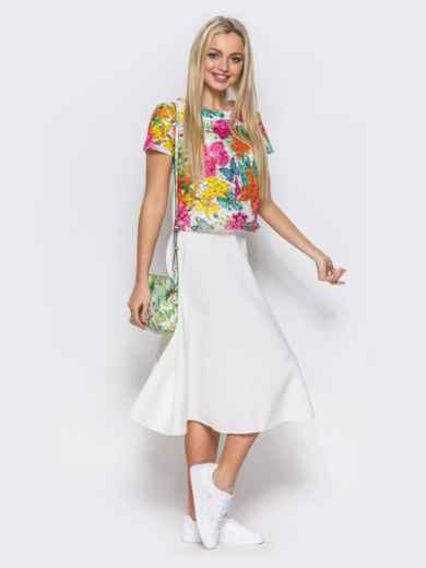 Комплект с юбкой-полусолнце белого цвета - 10468, фото 2 – интернет-магазин Dressa