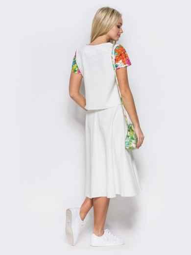 Комплект с юбкой-полусолнце белого цвета - 10468, фото 3 – интернет-магазин Dressa