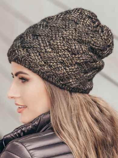 Коричневая шапка с флисовой подкладкой - 15585, фото 2 – интернет-магазин Dressa