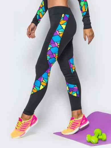 Лосины из спортивного трикотажа с цветными вставками - 17191, фото 2 – интернет-магазин Dressa
