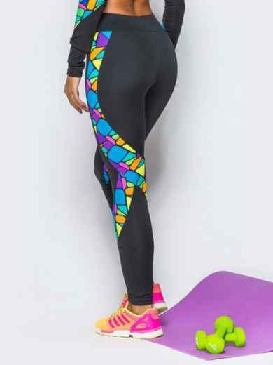 Лосины из спортивного трикотажа с цветными вставками - 17191, фото 3 – интернет-магазин Dressa