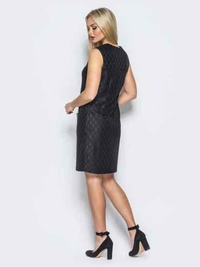 Платье с фигурным вырезом горловины черное - 18176, фото 2 – интернет-магазин Dressa