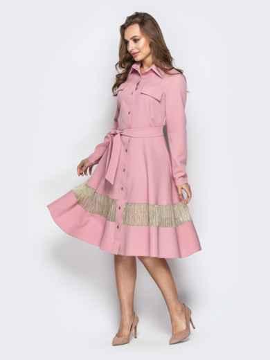 Пудровое платье-рубашка с юбкой-полусолнце и карманами - 21334, фото 2 – интернет-магазин Dressa