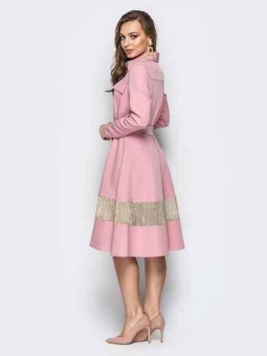 Пудровое платье-рубашка с юбкой-полусолнце и карманами - 21334, фото 3 – интернет-магазин Dressa