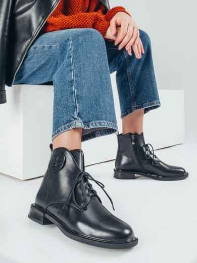 Осенние ботинки из искусственной кожи чёрные 51211, фото 1