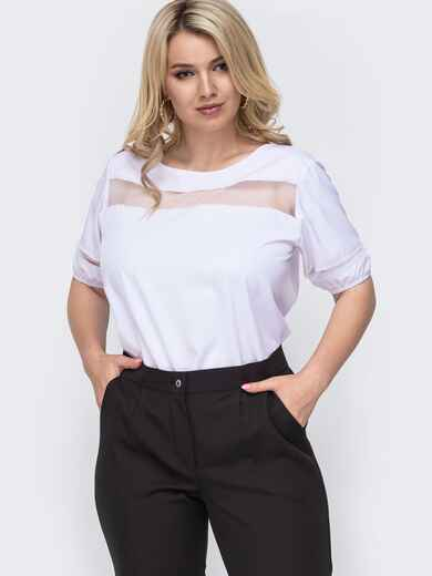 Белая блузка батал со вставками из фатина по груди 49900, фото 1
