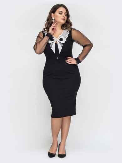 Чёрное платье батал с контрастной гипюровой вставкой 44424, фото 1