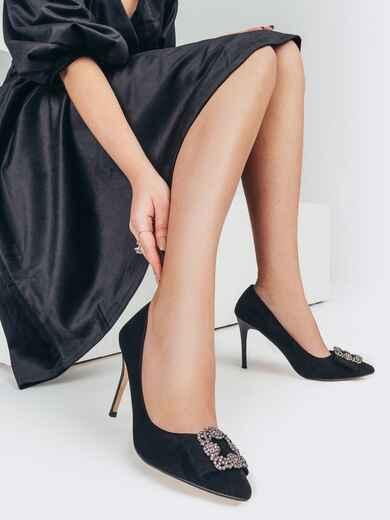 Чёрные туфли из искусственной замши на шпильке с пряжкой 51768, фото 1