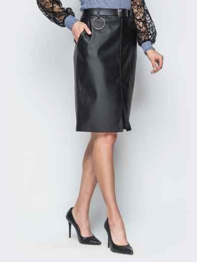 Кожаная черная юбка с разрезом спереди - 18859, фото 2 – интернет-магазин Dressa