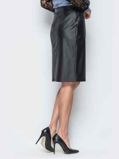 Кожаная черная юбка с разрезом спереди - 18859, фото 3 – интернет-магазин Dressa