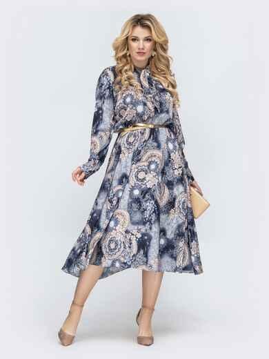 Платье батал с принтом и воротником-аскот синее 45397, фото 1