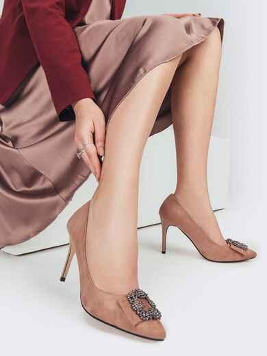 Пудровые туфли из искусственной замши на шпильке с пряжкой 51769, фото 1