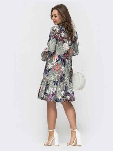 Расклешенное платье с воланом в цветочный принт зеленое 46967, фото 2