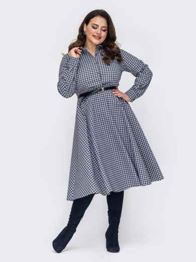 Серое платье-рубашка большого размера в клетку 52744, фото 1