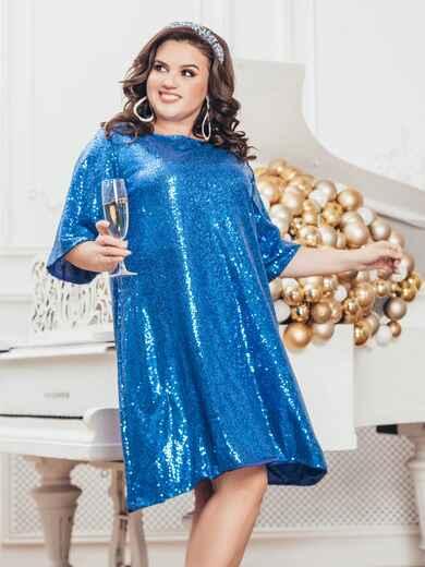 Синее платье батал с пайетками и удлиненной спинкой 43278, фото 1