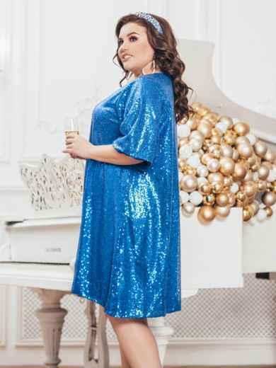 Синее платье батал с пайетками и удлиненной спинкой 43278, фото 2