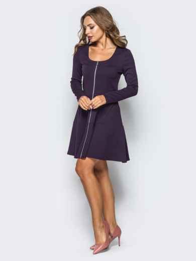 Фиолетовое платье-мини со змейкой спереди - 16279, фото 2 – интернет-магазин Dressa