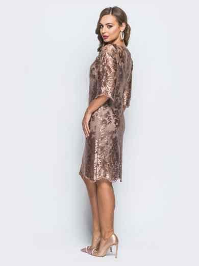 Гипюровое платье бежевого цвета с рукавами-воланами - 17978, фото 3 – интернет-магазин Dressa