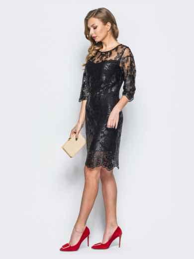 Гипюровое платье черного цвета с рукавами-воланами - 18132, фото 2 – интернет-магазин Dressa