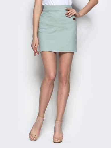Хлопковая юбка-мини мятного цвета 22047, фото 1