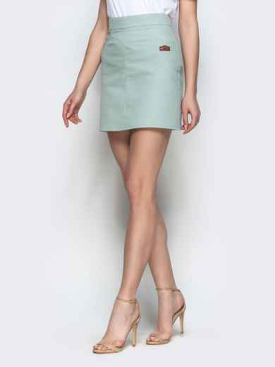 Хлопковая юбка-мини мятного цвета 22047, фото 2