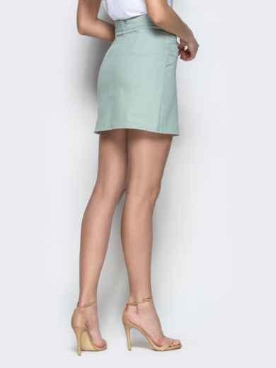 Хлопковая юбка-мини мятного цвета 22047, фото 3