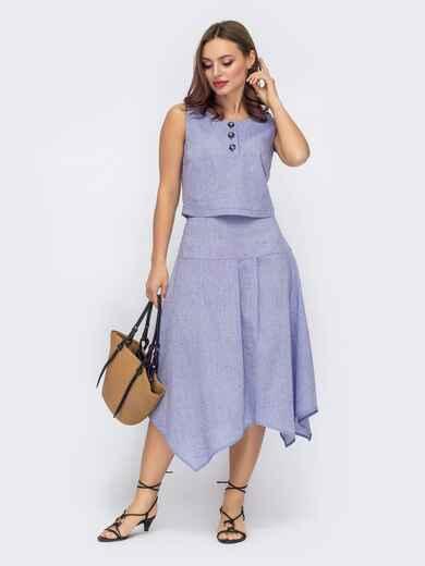 Льняной костюм из топа и асимметричной юбки голубой 53739, фото 1