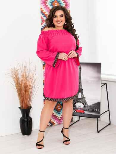 Розовое платье батал с открытыми плечами - 47637, фото 1 – интернет-магазин Dressa