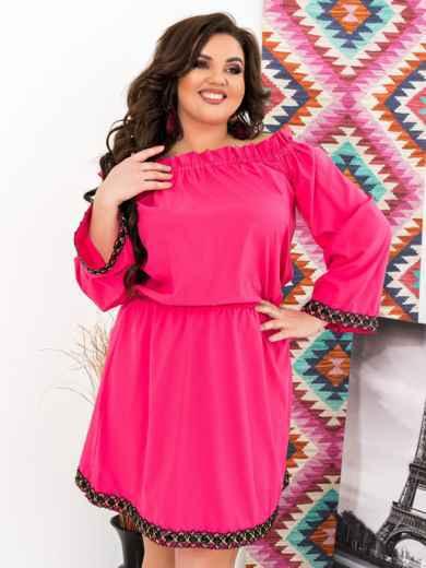 Розовое платье батал с открытыми плечами - 47637, фото 3 – интернет-магазин Dressa
