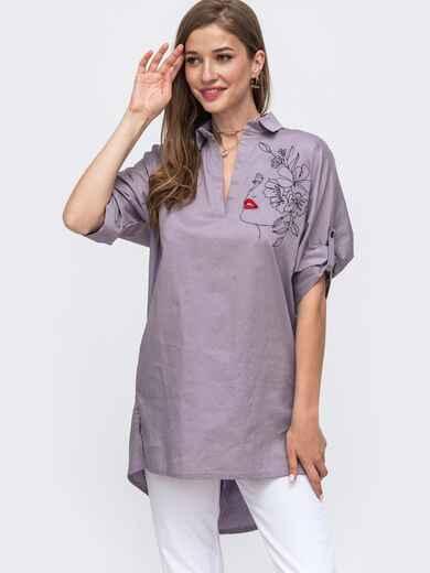 Серая рубашка с вышивкой и удлиненной спинкой 49471, фото 1