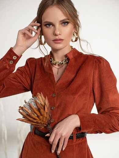 Терракотовое платье из вельвета - 44239, фото 1 – интернет-магазин Dressa