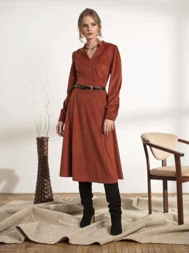 Терракотовое платье из вельвета - 44239, фото 2 – интернет-магазин Dressa