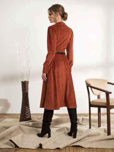 Терракотовое платье из вельвета - 44239, фото 3 – интернет-магазин Dressa