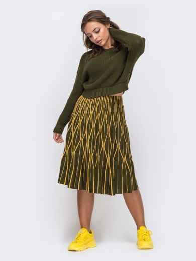 Комплект цвета хаки с расклешенной юбкой с узором 50446, фото 1