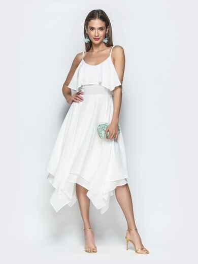 Белое платье с воланом по верху и асимметричной юбкой 39390, фото 1