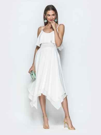 Белое платье с воланом по верху и асимметричной юбкой 39390, фото 2