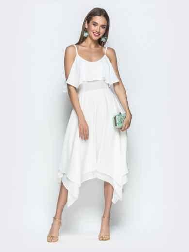 Белое платье с воланом по верху и асимметричной юбкой 39390, фото 3